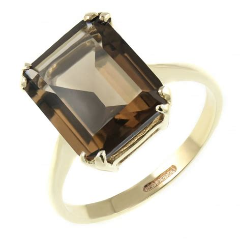9ct yellow gold 12x10mm emerald cut smoky quartz ring