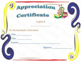 Certification Of Appreciation Template by Reader Certificates