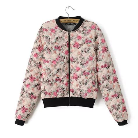 casual cute fashion floral print model image 200779 cute pink floral print casual short women cotton coat 2015