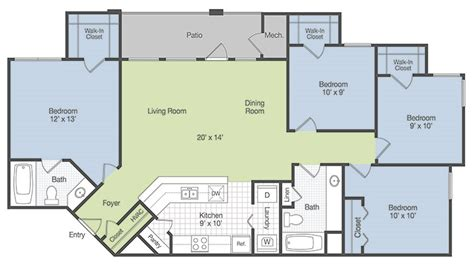 4 bedroom apartment floor plans rooms