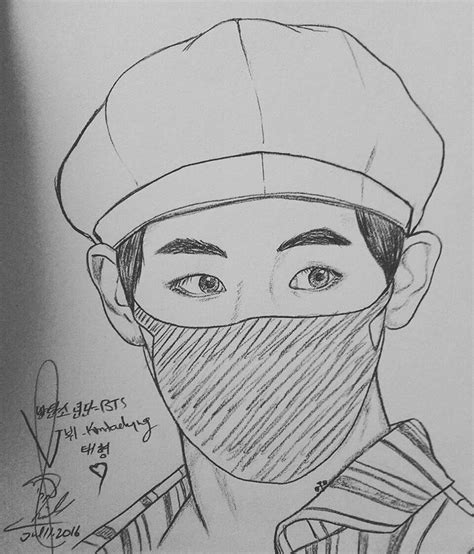 V Drawing Bts Easy by 꿀벌 Sketch 스케치 김태형 Taehyung Airport Fashion