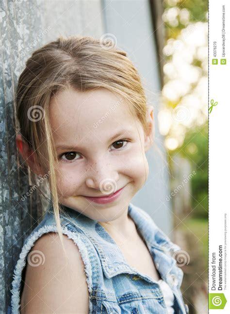 Denim Barn Jacket Smiling Pre Teen In Denim Jacket Stock Photo Image 43376270