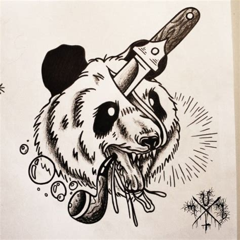 panda traditional tattoo traditional panda head with pipe pierced with dagger