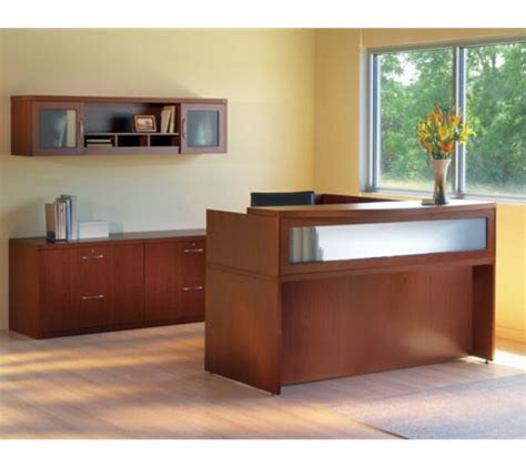 reversible l shaped desk mayline aberdeen reversible l shape cherry reception desk