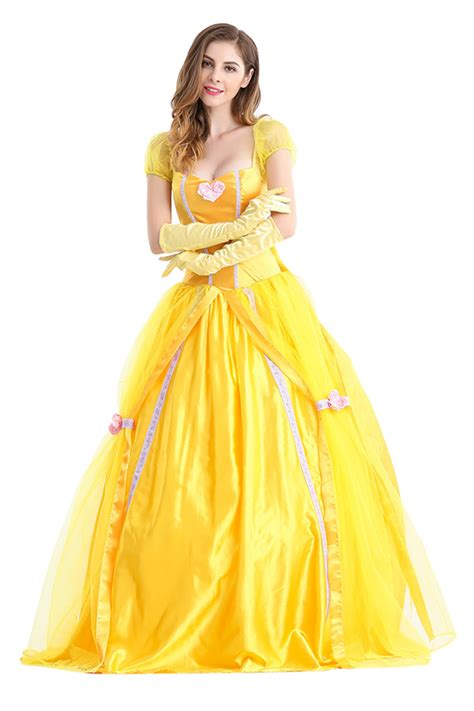 womens bow back princess maxi costume yellow pink