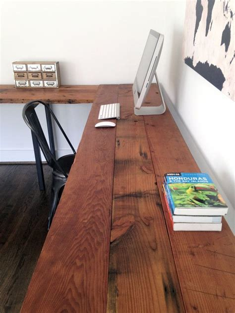 shaped desk reclaimed wood steel industrial