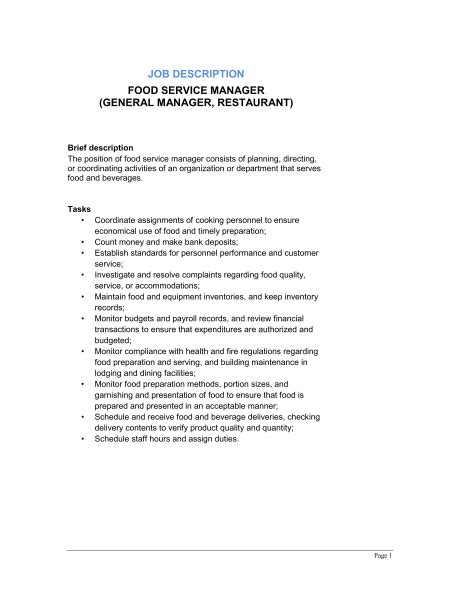restaurant manager job description 2016 recentresumes com