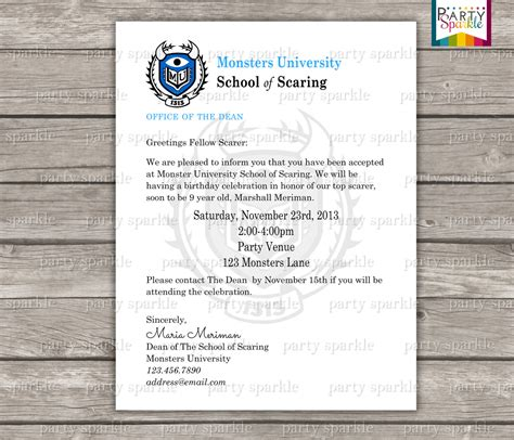 Monsters Acceptance Letter Pdf Printable Acceptance Letter Invitation