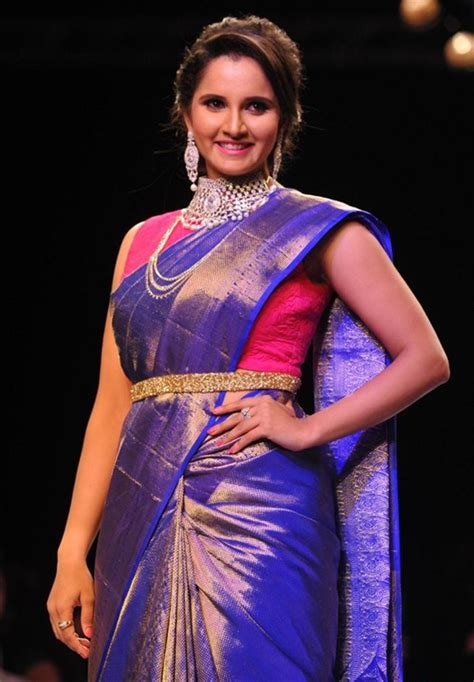 Picture 914325 Sania Mirza Photos In Blue Amp Gold Bridal Hairstyle For Silk Saree
