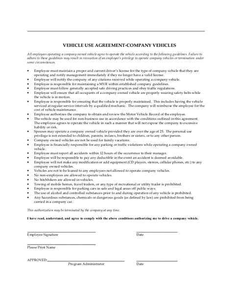 Company Vehicle Use Agreement Company Vehicle Use Policy Template