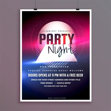 Elegant Party Night Music Flyer Template Design With Lights Effe Download Free Vector Art Lights Flyer Template