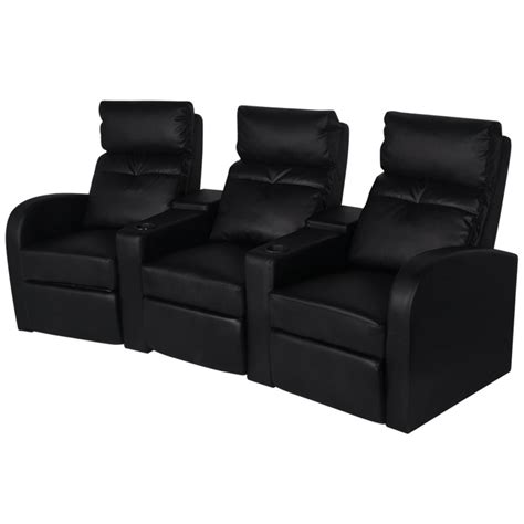 reclining bench seat black sofa chair three seat reclining in black artificial