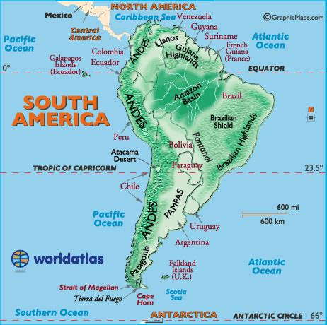 america map mountains and river south america landforms map education