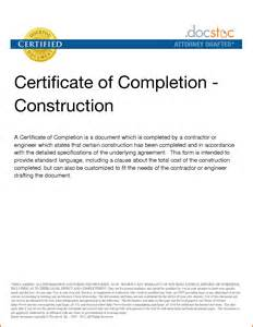 building construction completion certificate format free