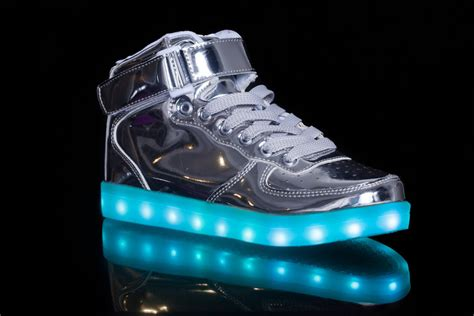 silver light up shoes led shoes with light metallic silver discount sale