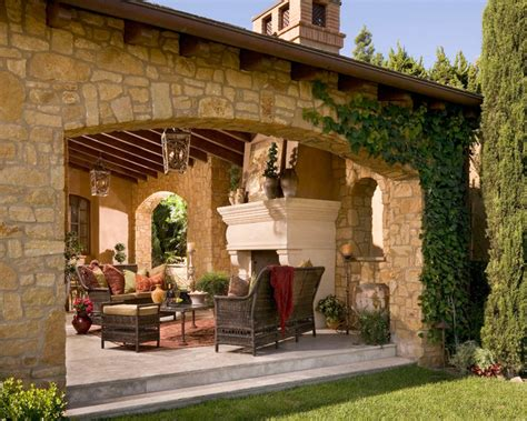 Courtyard Style House Plans by Anaheim Hills Tuscan Villa Mediterranean Patio Other