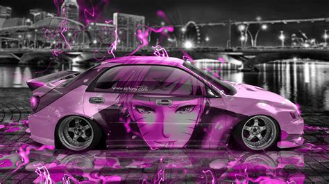 pink subaru subaru impreza wrx sti jdm tuning anime boy city car 2015