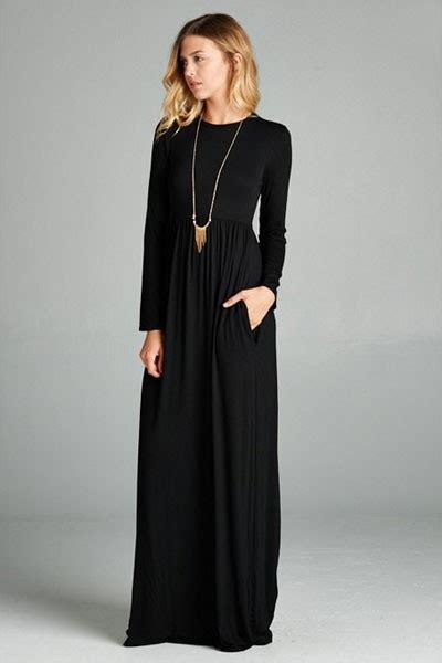solid jersey long sleeve maxi dress  hidden pockets black