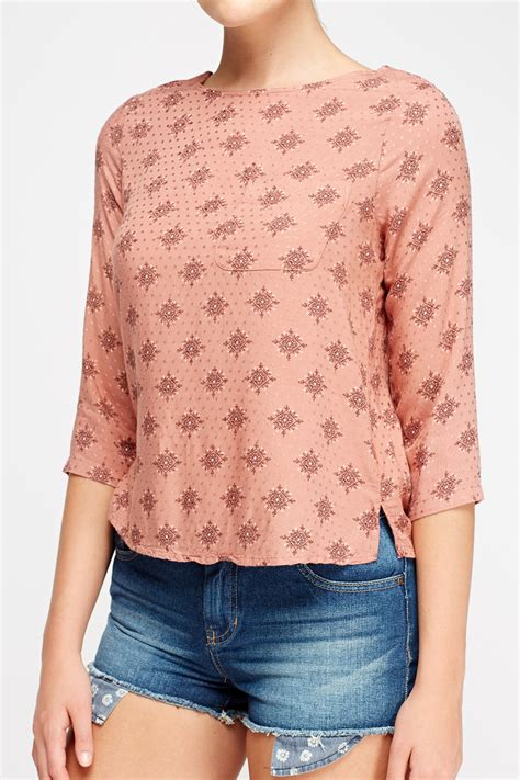 Top Dusty Pink printed dusty pink top just 163 5