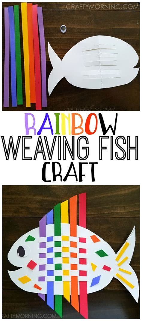 Color Paper Crafts Ideas - weaving rainbow fish craft crafty morning