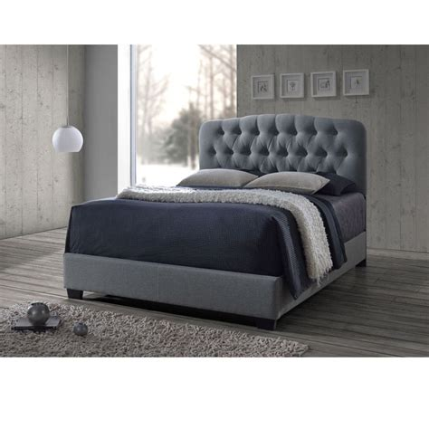 Button Tufted Bed Frame Baxton Studio Romeo Contemporary Espresso Button Tufted Grey Upholstered Bed By Baxton Studio