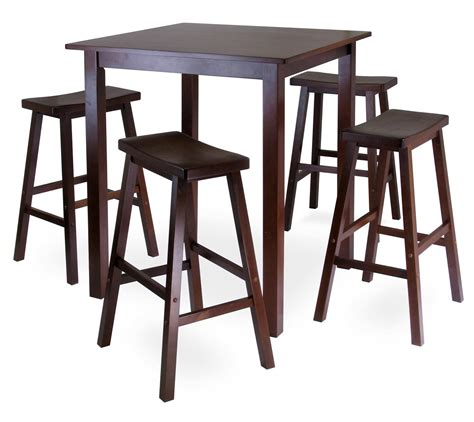 Bar High Kitchen Tables Winsome Parkland 5pc Square High Pub Table Set With 4 Saddle Seat Stools By Oj Commerce 94549