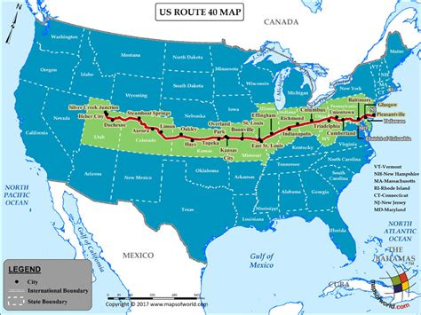 route map usa us route 40 map for road trip highway 40