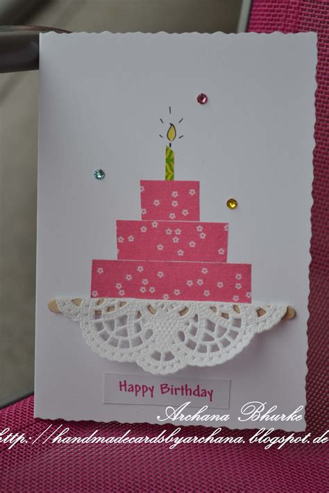 Handmade Birthday Cake - handmade cards by archana happy birthday