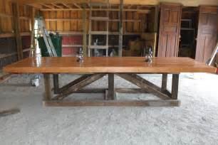the recycled barn trestle table seating for 14