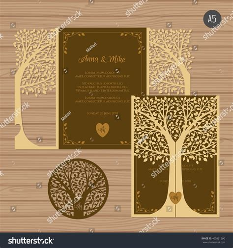 card tree template wedding invitation greeting card tree paper stock vector