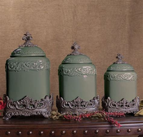 tuscan style kitchen canister sets set of 3 sage green fleur de lis kitchen canister set