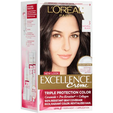 l oreal excellence creme permanent hair color medium ash brown 5 1 1 74 oz pack of 3 l oreal healthy look creme gloss hair color 1 rich black espresso