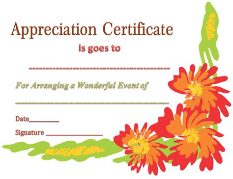 appreciation letter event organizer certificate of appreciation template for event organizer