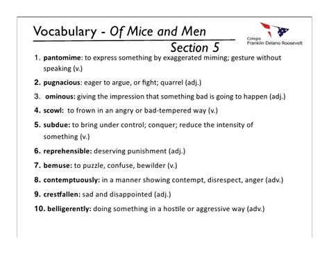of mice and men section 1 vocabulary myp9