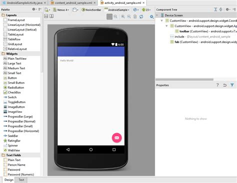 android studio layout editor creating an exle android 6 app in android studio