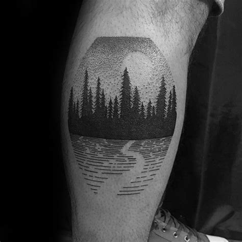 detailed leg calf tree forest small tattoo ideas for men