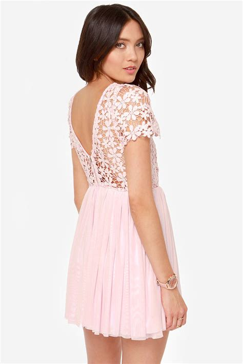 Pink Lace Summer S M L Dress pink dress lace dress sleeve dress 49 00