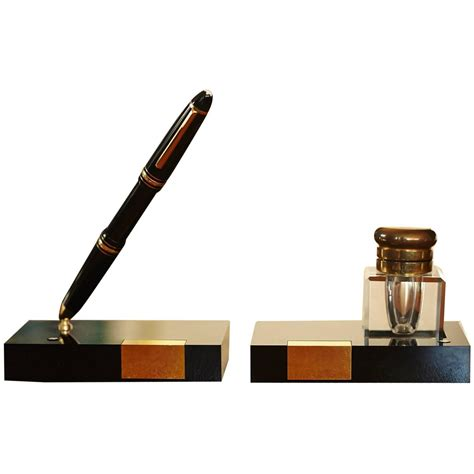 Montblanc Writing Set Fountain Pen Holder And Crystal Mont Blanc Desk Accessories