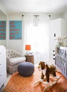 orange chevron rug transitional nursery domino magazine