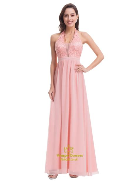 Dress Chiffon Top halter v neck empire waist a line lace top chiffon