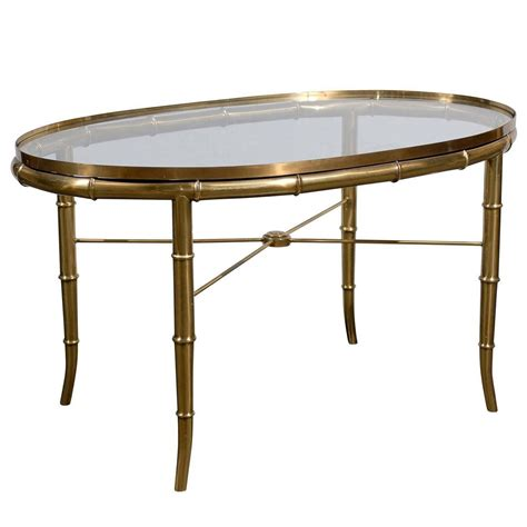 Oval Brass Glass Top Cocktail Or Coffee Table At 1stdibs Cocktail Coffee Tables