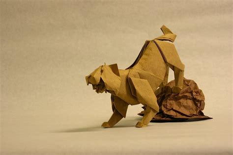Origami Tiger - origami on 50 pins