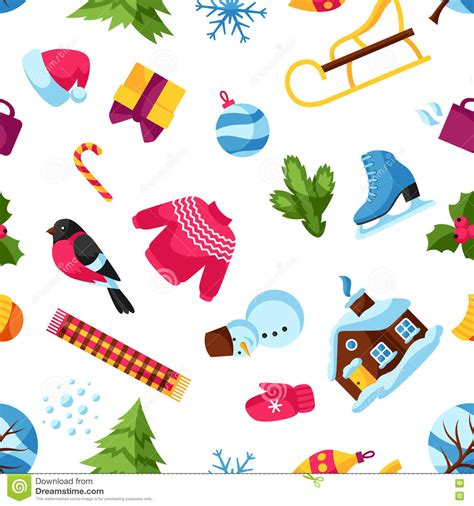 new year symbols vector background with winter objects merry happy new