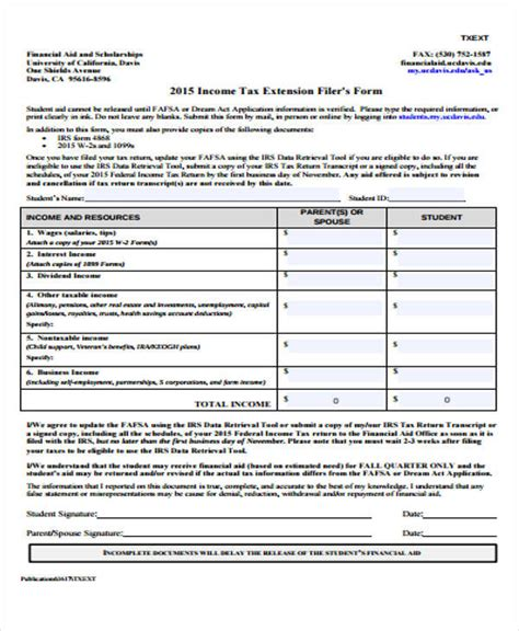 income tax extension form 20 service form formats sle templates