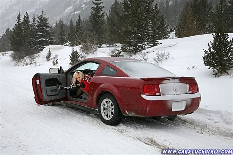 frozen mustang snow stuck cars images