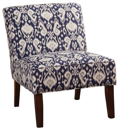 Chicco Armchair Armless Accent Chair Navy Blue And White Ikat Fabric