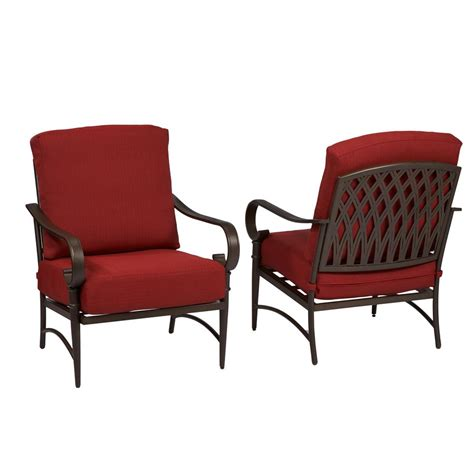 Metal Lounge Chairs Outdoor Design Ideas Hton Bay Oak Cliff Stationary Metal Outdoor Lounge Chair With Chili Cushion 2 Pack 176 411