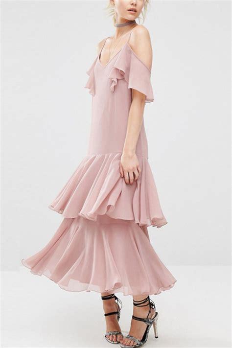 Ruffle Hem Spaghetti Dress light pink spaghetti straps ruffle hem sweet dress 029133