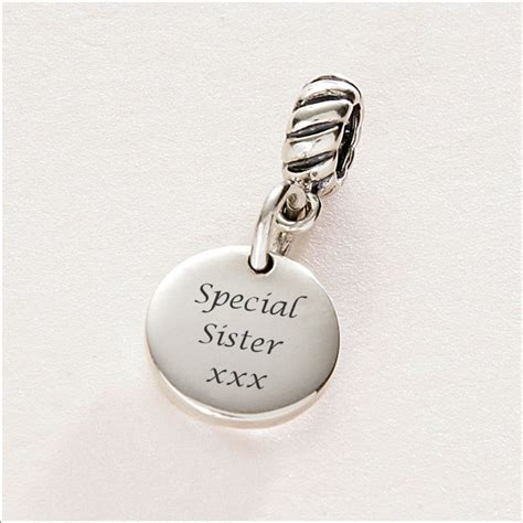 Special Sister charm Sterling Silver fits Pandora   Charming Engraving