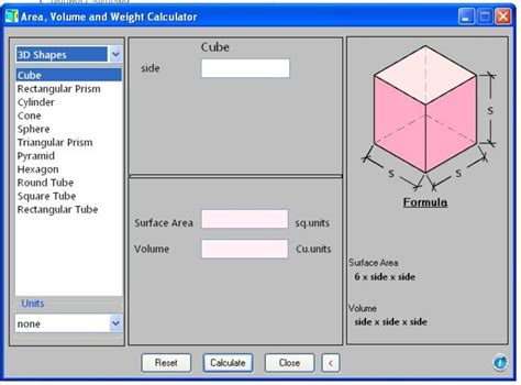 area calculater area volume and weight calculator download